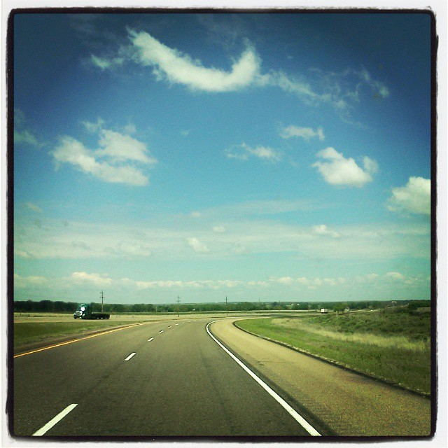 Driving through West Texas, near Childress... The cloud cover has cleared off; nothing but blue skies ahead.